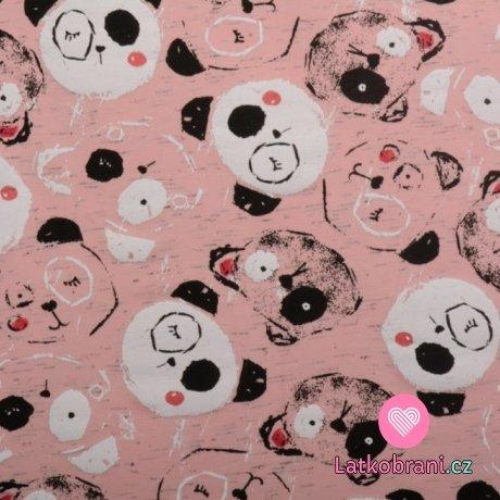 Úplet potisk mrkající panda na růžové
