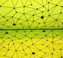 Teplákovina geometrické vzory na žluto-zelené do neonova (pavučinka)