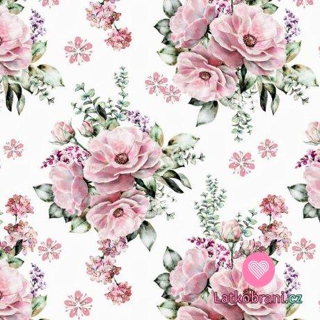 Teplákovina potisk pastelové květy na bílé