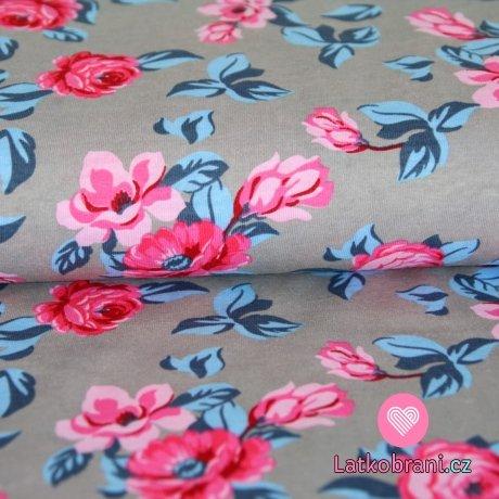 Úplet bavlněný růžičky s tyrkys lístečky na šedé