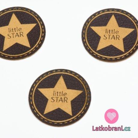 """Štítek na oblečení kulatý """"little star"""", koženkový, imitace tmavé kůže"""