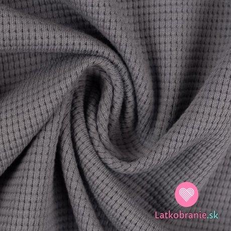 Bavlněný vaflový úplet jednobarevný šedý