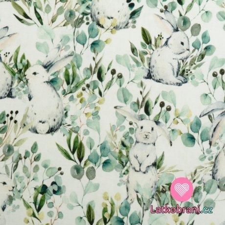 Bavlněné plátno králíci na pastvě