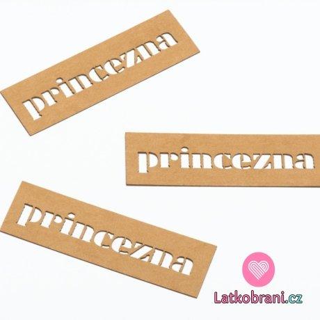 """Štítek na oblečení """"princezna"""" nápis 20x65 mm"""