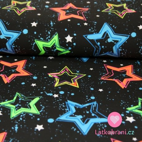 Úplet neonové hvězdy na tmavém podkladu