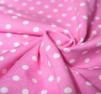 Úplet puntíky bílé na růžové 70mm velké