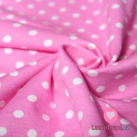 Úplet puntíky bílé na růžové 7mm velké
