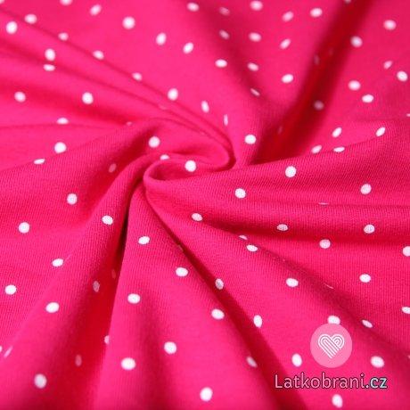 Teplákovina bílé puntíky na pink růžové 4 mm