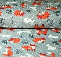 Úplet liška se zajícem ve sněhu na šedé