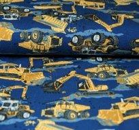 Úplet nákladní stroje bagr žlutý na modré
