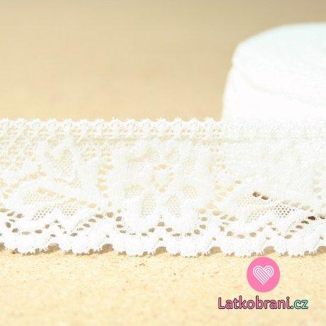 Krajka elastická kytičky bílá 47mm