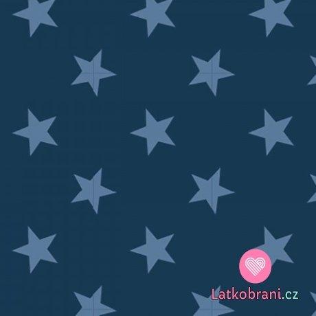 Teplákovina potisk světle modré hvězdičky na tmavě modré
