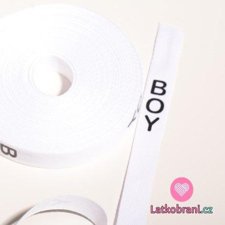 Stuha na oblečení s nápisem BOY bílá
