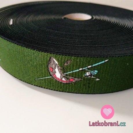 Pruženka šlová ryby na tmavě zelené khaki 36 mm