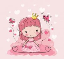 Panel princezna s motýlky na růžové