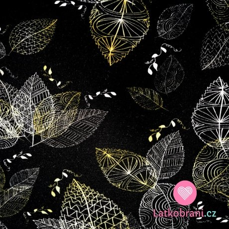 Úplet potisk pozlacené obrysy listů na černé
