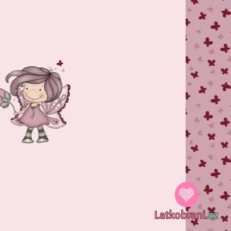 Teplákovina panel motýlí holčička na růžové