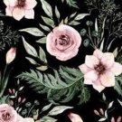 Teplákovina potisk šípková růže s listy na černé