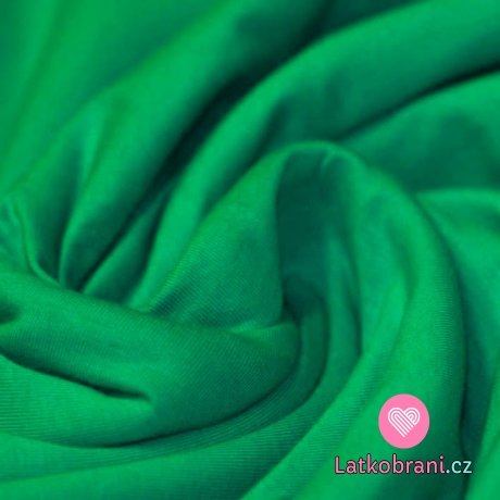 Jednobarevná teplákovina  zelená do smaragdové 240 g
