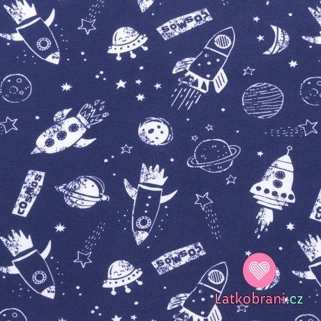Bavlněný úplet rakety mezi planetami na modré