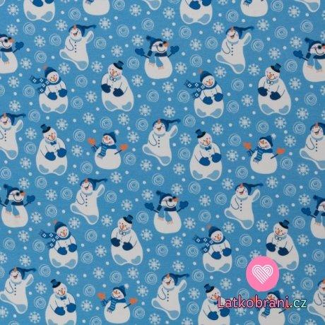 Teplákovina počesaná potisk sněhuláci na modré