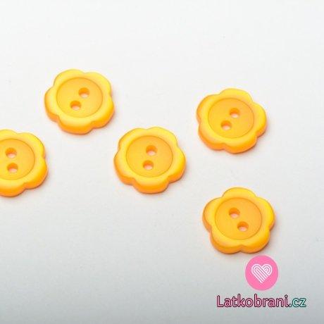 Knoflík dětský, kytička oranžová - malá