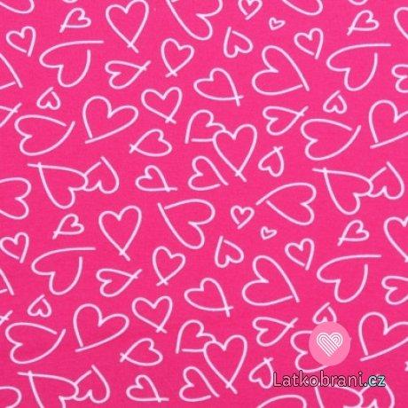 Bavlněný úplet srdíčka na růžovém podkladu