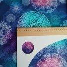 Teplákovina potisk modrá a fialová mandala ve větším designu