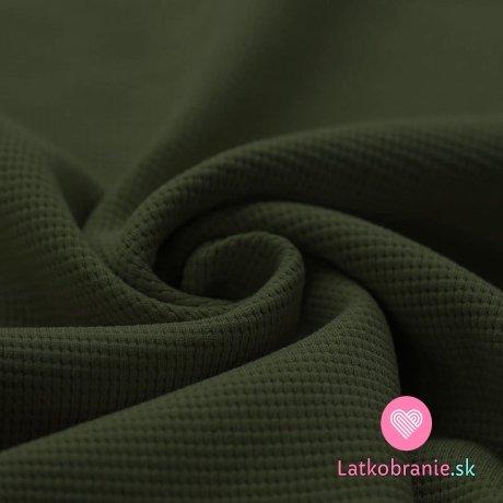 Bavlněný vaflový úplet jednobarevný vojensky zelený