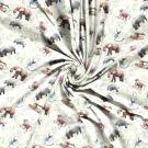 Úplet potisk zvířátka ze zoo mezi listy na bílé