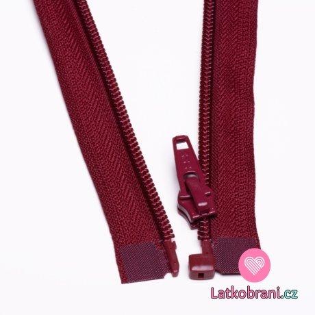 Zip spirálový dělitelný vínový 50cm
