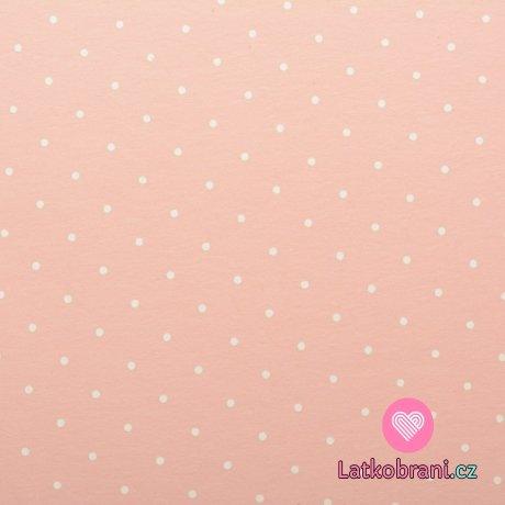 Teplákovina potisk bílý puntíček na růžové