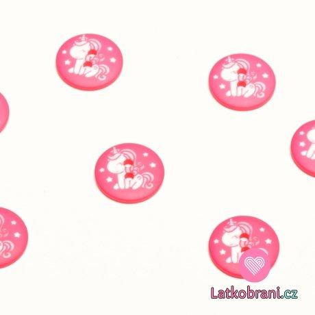 Knoflík kulatý, dětský s bílým jednorožcem na růžové