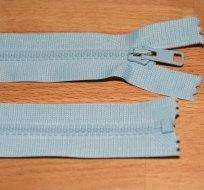 Zip kostěný dělitelný 55cm světle modrý
