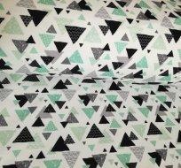 Teplákovina smaragdovo-tyrkysové, černé trojúhelníčky