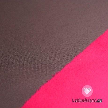 Softshell šedá s nádechem do růžové z rubu fuchsie s fleecem
