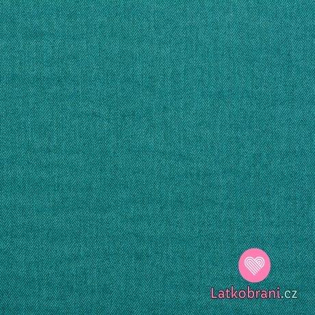 Softshell s fleecem, rybí kost petrolejová