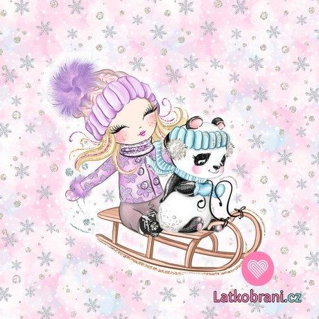 Panel holčička v fialkovém s pandou na saních