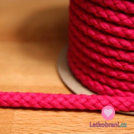 Šňůra kulatá oděvní BAVLNA 9 mm fuchsie
