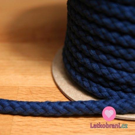 Šňůra kulatá oděvní BAVLNA 9 mm tmavě modrá