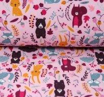 Softshell modré veverky na růžové s fleecem