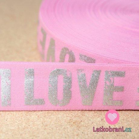 Pruženka text stříbrný Love na růžové 40mm