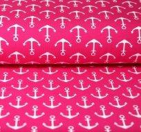 Teplákovina kotvičky bílé na pink růžové