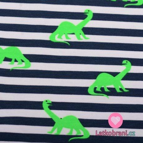 Úplet potisk tmavomodré proužky na bílé s neonkově zelenými dinosaury