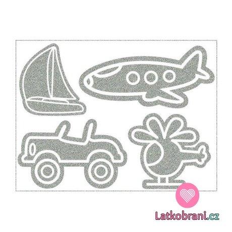 Reflexní nažehlovačka doprava vrtulník, loď, letadlo, auto