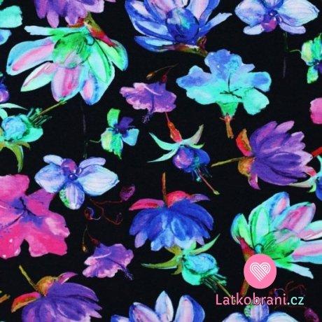 Úplet potisk viskózový pestré květy na černé