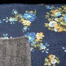 Teplákovina počesaná potisk květinový vzor na džínové