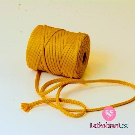 Šňůra kulatá oděvní PES 7 mm žlutá jantarová
