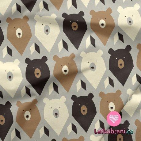 Teplákovina potisk hlavy medvídků na krémové