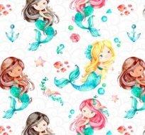 Teplákovina mořské panny na bílé